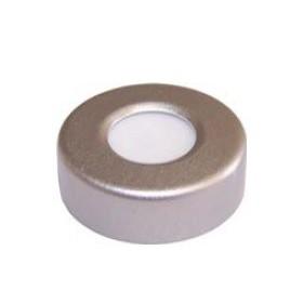 "Srebrny 20 mm aluminiowy kapsel z 0,125"" teflonowo-silikonową septą - 100 sztuk"