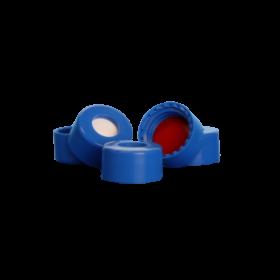 Niebieska gładka nakrętka R.A.M.™ z teflonowo-silikonową septą  - 100 sztuk